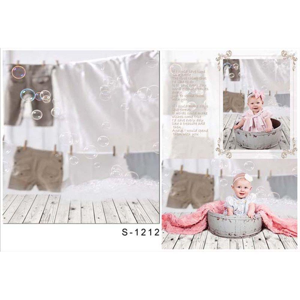 Newborn Baby Shower Photography Backdrops Vinyl Fabric Bubbles Kids Children Studio Photographer Photo Shoot Background Wood Floor