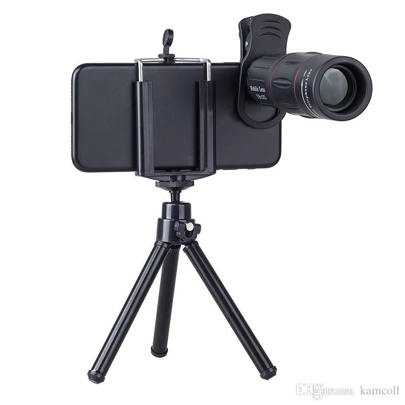 العالمي 18X تلسكوب التكبير التكبير الهاتف المحمول أحادي العين تليفوتوغرافي عدسة الكاميرا مع كليب ترايبود لفون ل سامسونج Xiaomi