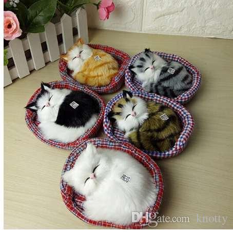 تصميم جديد kawaii محاكاة السبر القطط النوم أفخم لعبة مع عش الأطفال المفضلة هدية عيد الميلاد عيد الميلاد