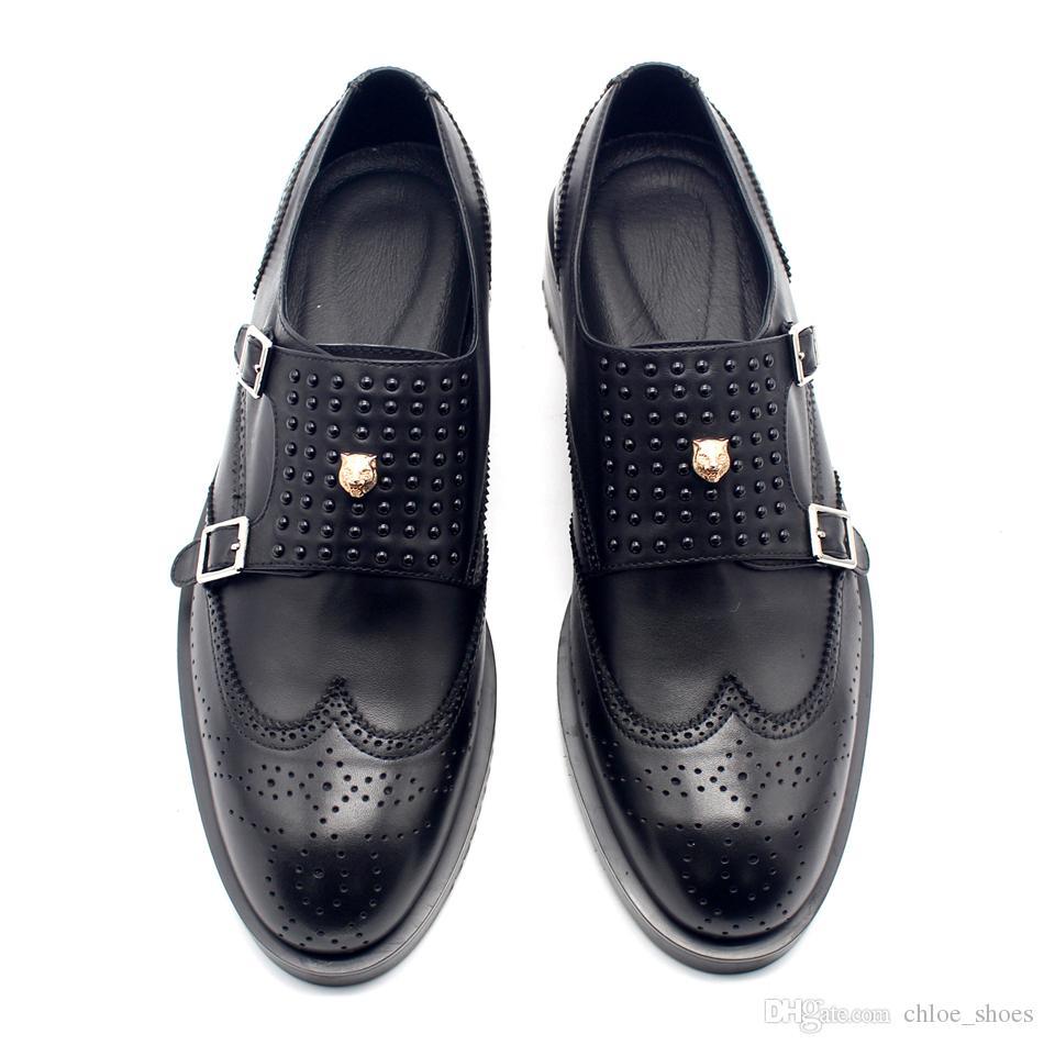 Handmade monge strap rebites preto formal terno vestido sapatos masculino oxfords top qualidade de couro de vaca homens sapato de negócios