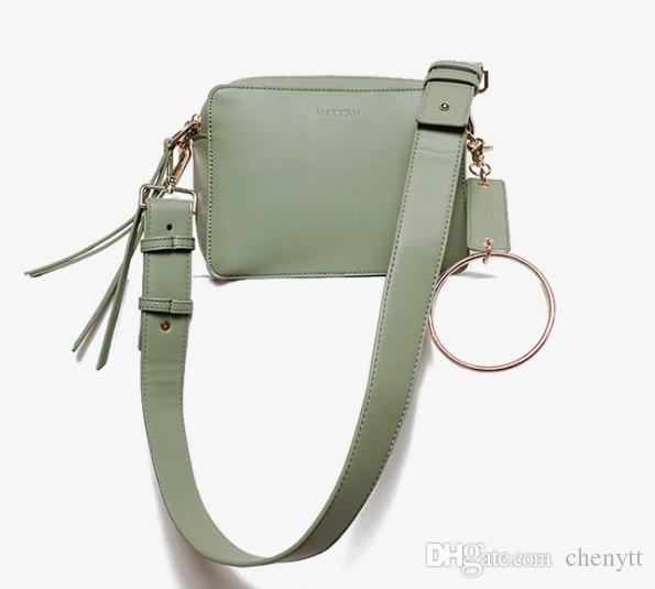 2018 النسخة الكورية من المرأة الجديدة حقيبة مزدوجة سستة حلقة معدنية صغيرة مربعة حقيبة كتف حقيبة حقيبة حقيبة