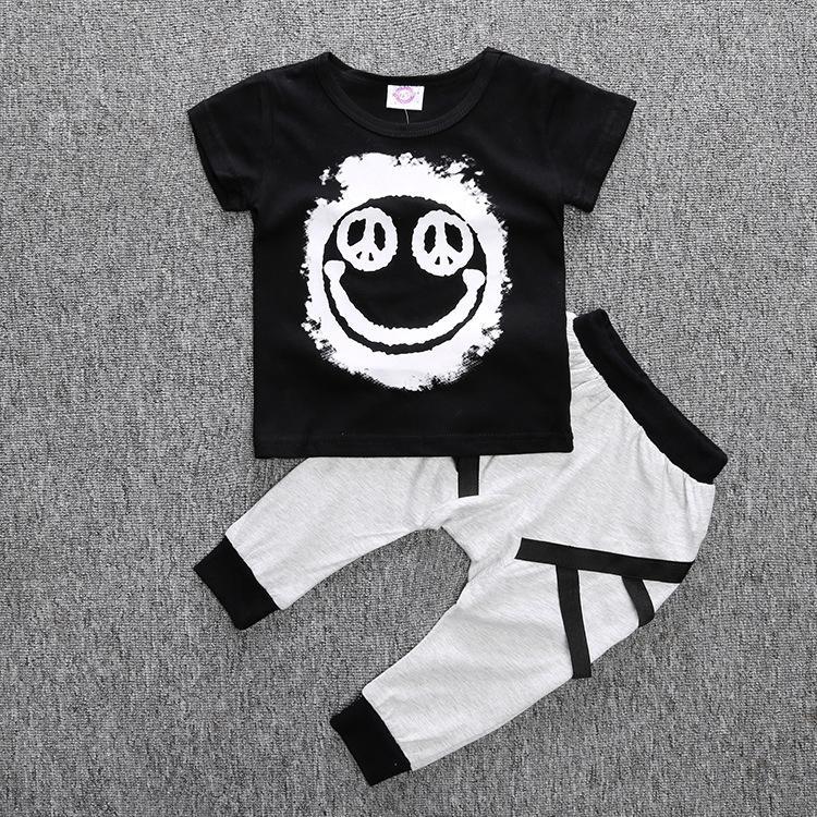 Baby Boy Ropa 2 unids camisetas de manga corta + pantalones niños niños estilo verano ropa ropa niño conjunto cara