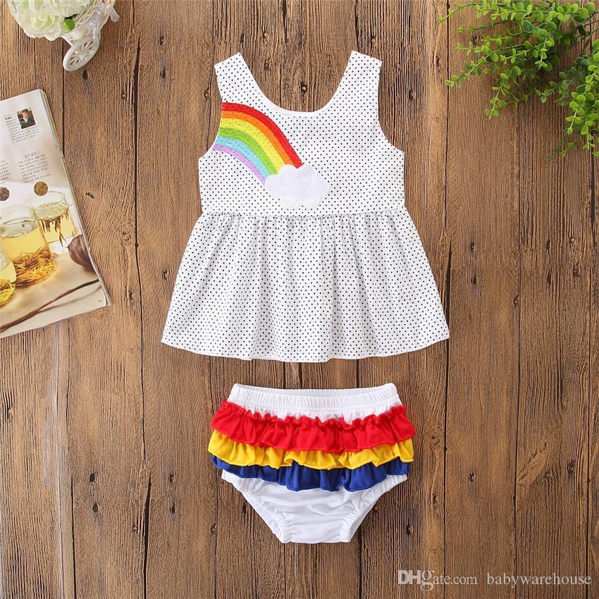 Kids Clothing Black Dot Pattern Girls Clothes Set Fashion Baby Girls Rainbow Sleeveless Tops Mini Dress +Shorts 2Pcs Infant Girls Outfits