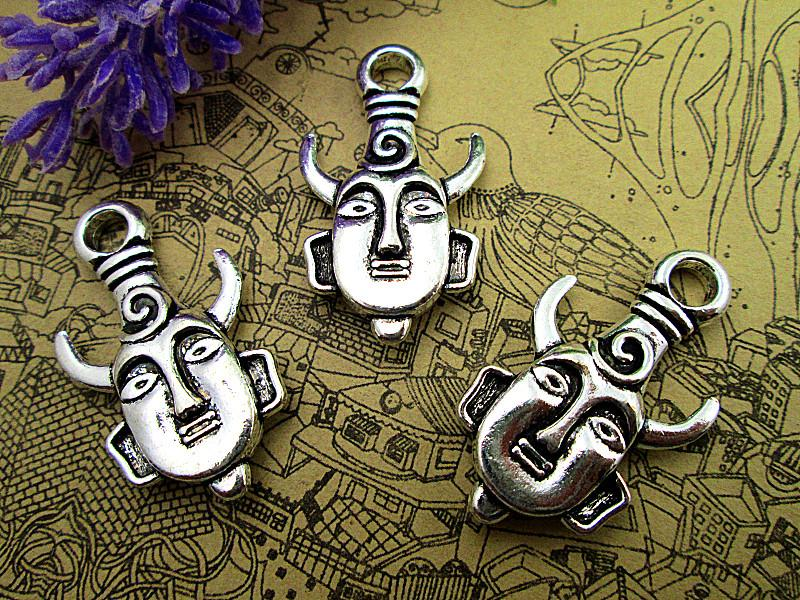 silver Heavy Mysterious Horn Man Mask Charm Pendant 2 sided 21x36mm 5pcs-