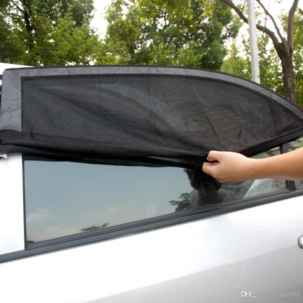 2PCS 조정 가능한 조정 가능한 자동 차 측 후면 창 태양 그늘 검은 망 차 덮개 덮개 차양 차양 차양 UV 보호