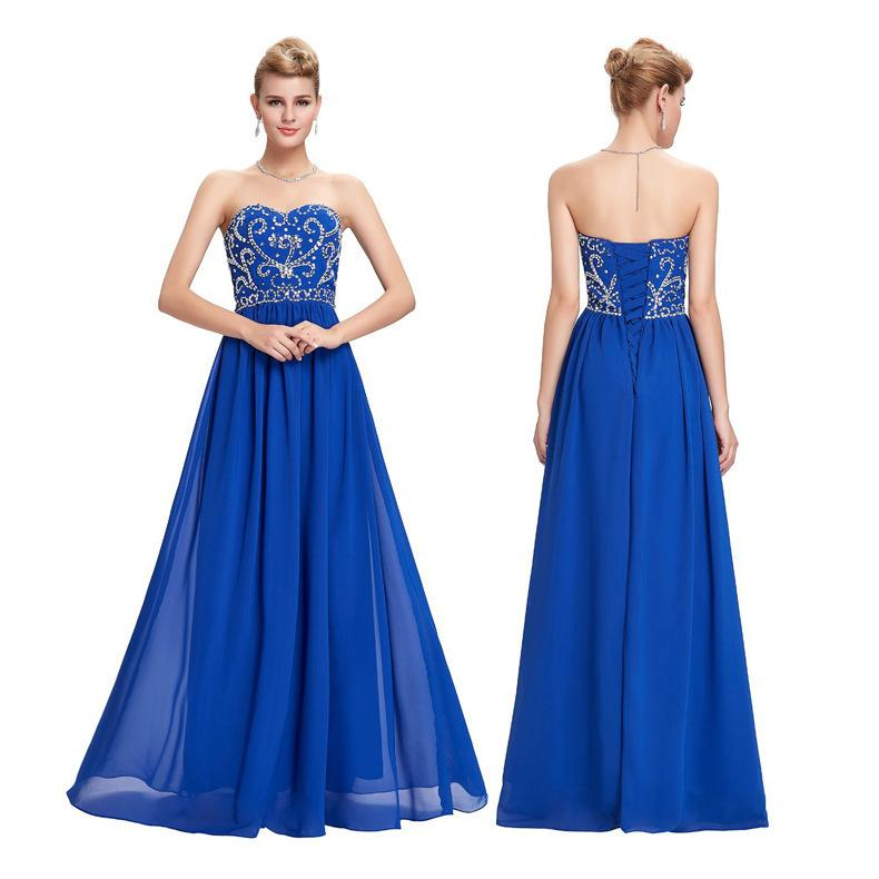 Beaded Chiffon A Line Evening Dresses 2019 Long Prom Dress New Floor Length Evening Gowns Black Blue