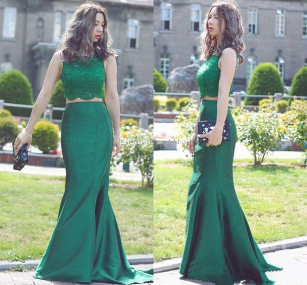 Two Pieces Mermaid Green Evening Dresses 2018 Bateau Lace Top Beads Trumpet Long Formal Prom Dress Party Pageant Gowns Cheap Custom Made