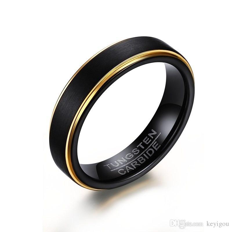 Domilay 남성 기본 텅스텐 스틸 블랙 골드 컬러 붙이 가장자리 마침 센터 반지 남성 결혼 약혼 밴드 쥬얼리