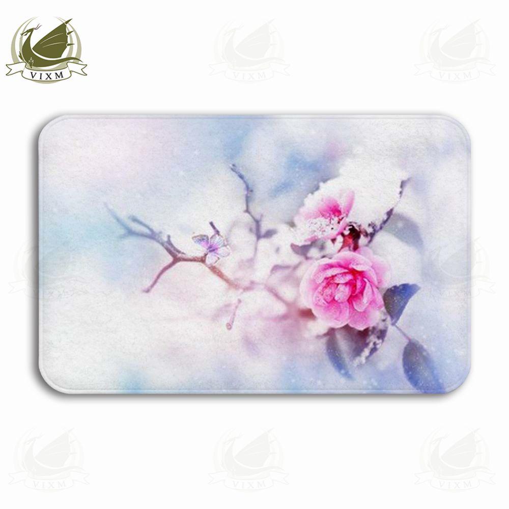 Vixm Hermosa rosa rosada y mariposa en la nieve y la escarcha Alfombra de bienvenida Alfombras Franela Antideslizante Entrada Cocina Interior Alfombra de baño