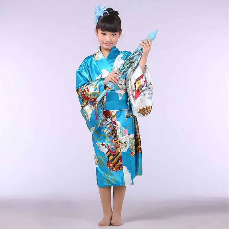 Obi ile yenilik Mavi Japon Kız Bebek Kimono Çocuk Kid Yukata Performans Dans Elbise Çocuk Cosplay Kostüm NK021
