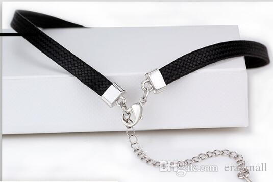 Black chokers good quality hide rope crystal necklaces swan star letter chokers christmas birthday girlfriend gifts 500