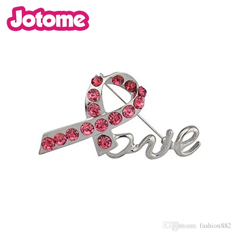 Lux Accessories Pave Pink Crystal Box Breast Cancer Awareness Inspiration Love Pin Brooch