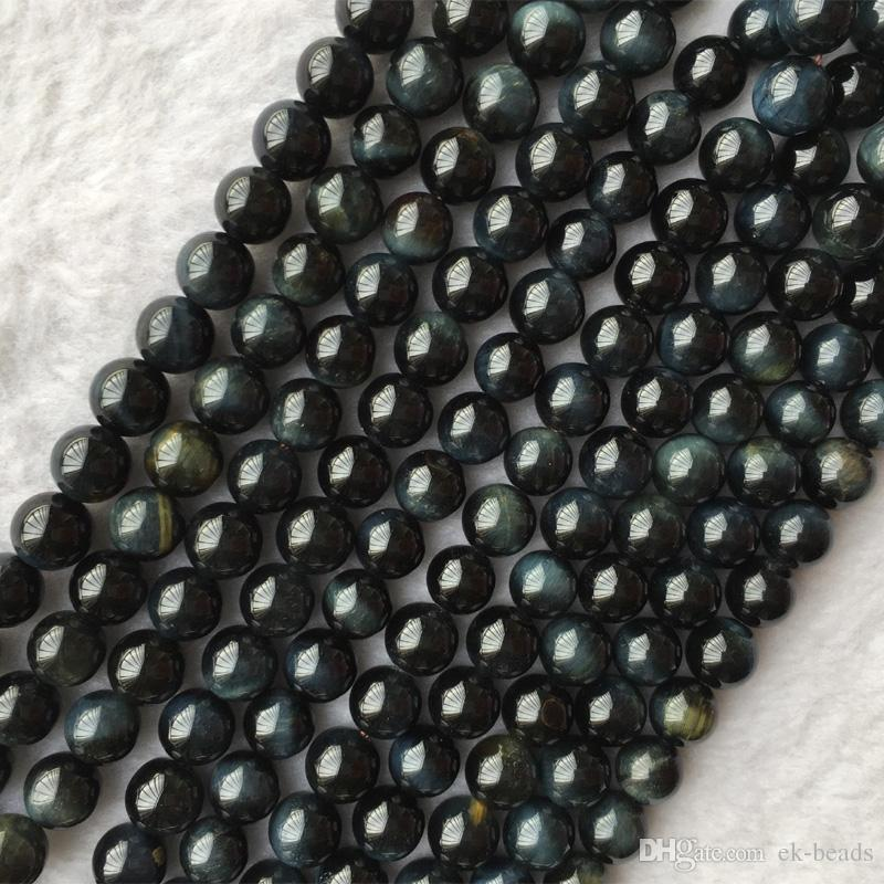 """جودة عالية حقيقية حقيقية عين النمر الأزرق جولة حجر فضفاض الخرز مجوهرات 3-18mm 15.5 """"05658"""