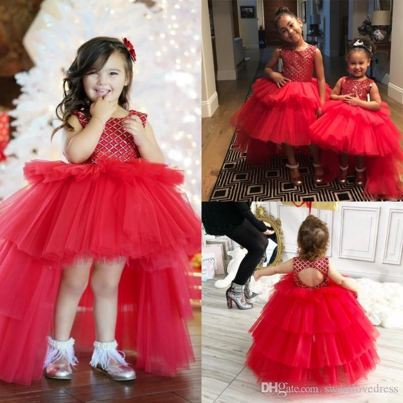 Sparkling REd Crystal Beaded Girls Pageant Dresses Hi Lo Tiered Tulle Skirt Ball Gown Birthday Dresses