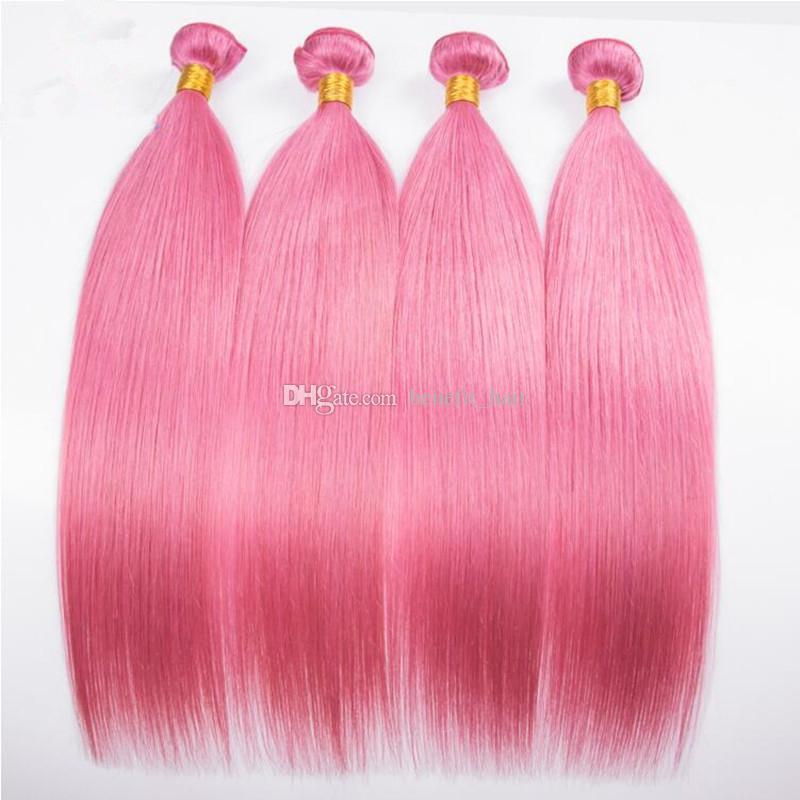 Bonne Qualité Rose Couleur Brésilienne Soyeux Cheveux Raides Bundles 4 Pcs Non Transformés Couleur Rose Trame De Cheveux Humains Extensions 4 Bundles Pour Femme