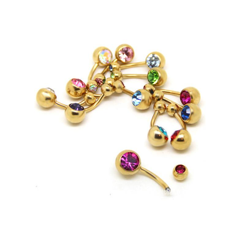Hot 1 Pc Unisex 9 Colors Charm Golden Crystal Ring Body Piercing Jewelry Navel Belly Button