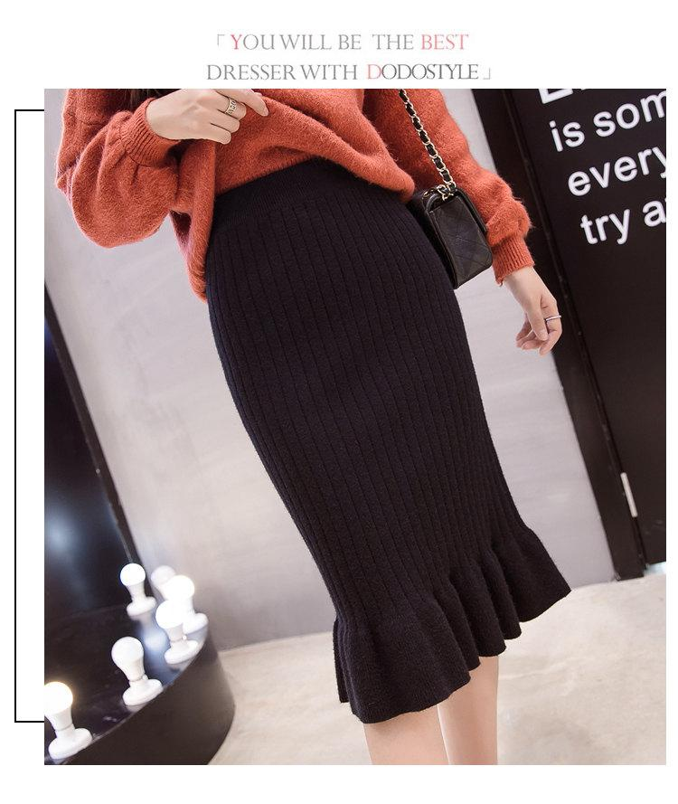 Winter Knitted Skirts Women High Waist Mermaid Skirt Saia Knitting Pack Hip Skirt Women\`s 2019 Casual Bodycon Faldas Mujer (8)