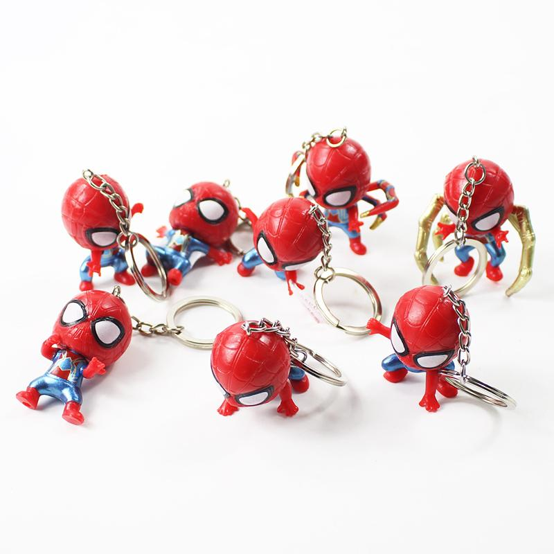8pcs/lot 5-6cm cute spiderman keychain action figure model toy for children birthday gift