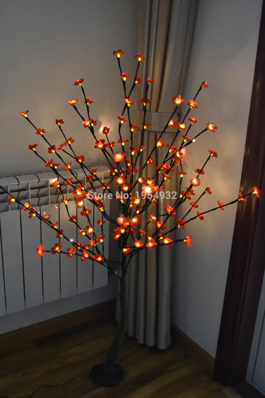 """الشحن مجانا 52 """"160 قطع أزهار البرقوق (الكرز) شجرة الصمام الخفيفة في الجهد 3 فولت مع قاعدة ، شجرة فرع الضوء مع الزهور البراقة"""