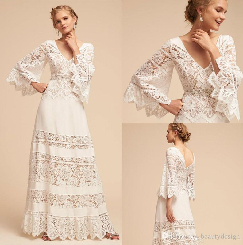 Discount 2018 Plus Size Bhldn Wedding Dresses Lace Bell Sleeve Country Bohemian V Neck Country Wedding Dress Full Length Chiffon Boho Bridal Gown