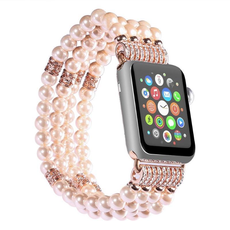 Cinturino con cinturino regolabile con quattro bracciali di perle per cinturino con cinturino per donna di generazione iWatch 1/2 per cinturino Apple con adattatori