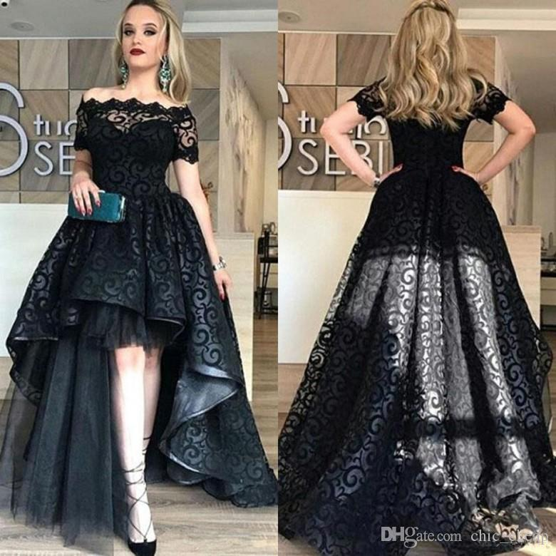 Bareau Hi-Lo Short Sleeves A Line Sexy Evening Gowns Lace Custom Made Evening Dresses Vintage Prom Dresses