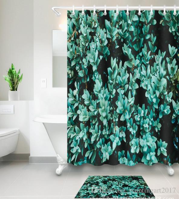 Home Decor 3D занавески для душа сочные растения узоры современный пейзаж водонепроницаемый современная иллюстрация шторы коврики наборы