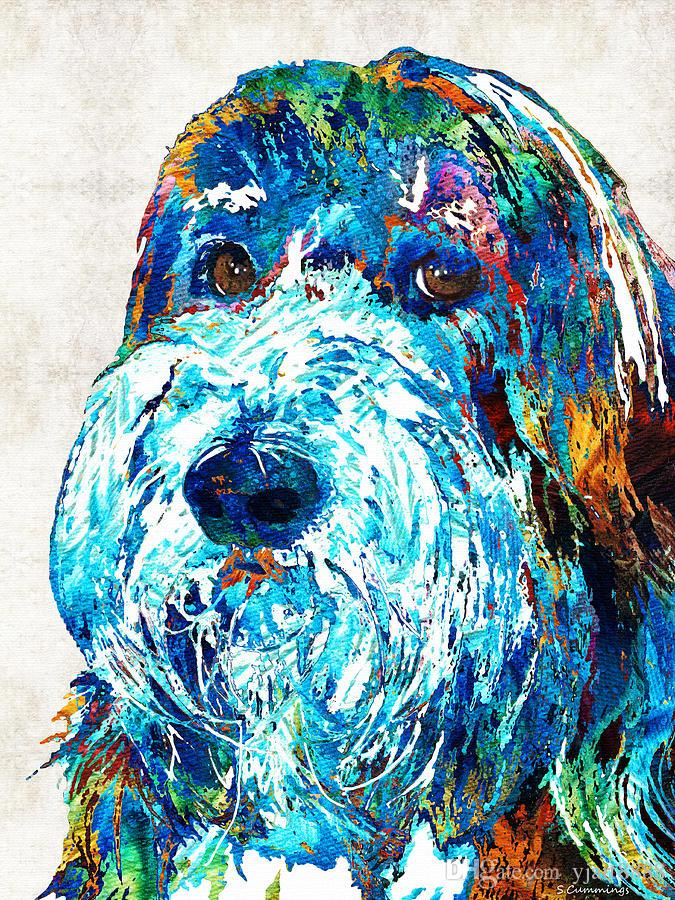 dog-portrait Artwork Unframed Modern Canvas Wall Art for Home and Office Decoration,Oil Painting ,Animal painatings ,Frame painting