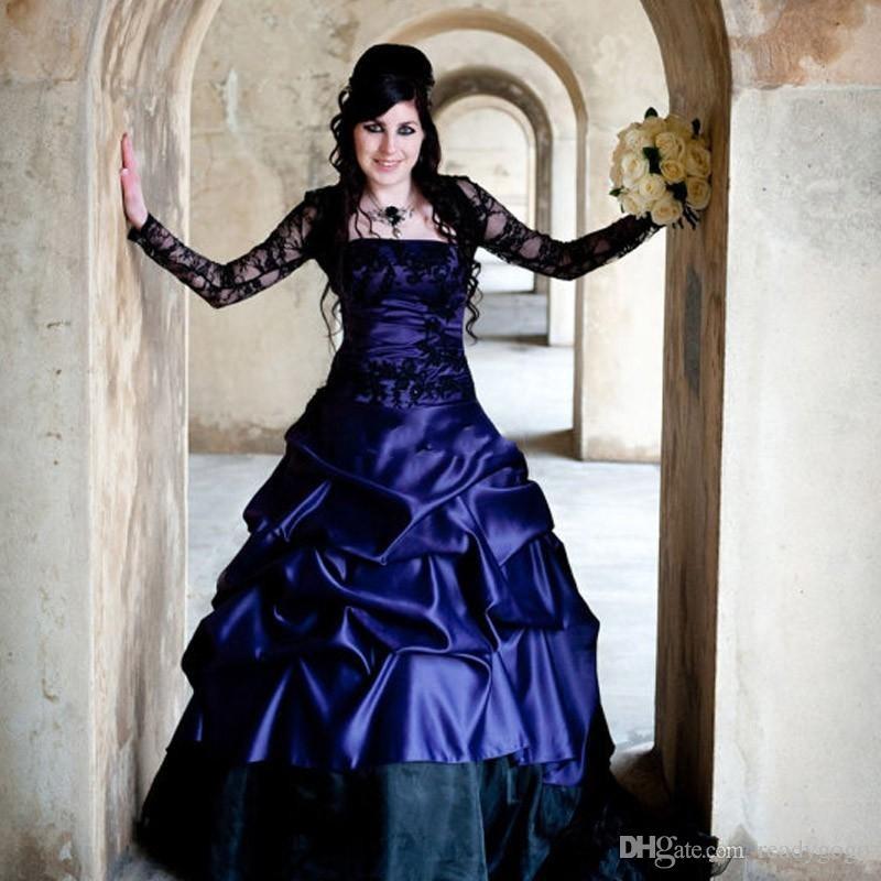 빅토리아 고딕 플러스 사이즈 긴 소매 웨딩 드레스 섹시한 보라색과 검은 색 주름 새틴 코르셋 스트랩리스 레이스 신부 가운 플러스 사이즈