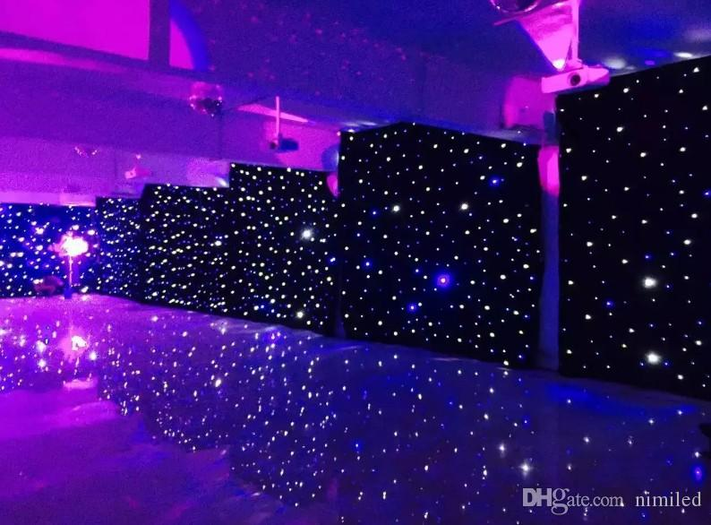 3mx6m LED Tenda della festa nuziale LED Panno stellato Fase nera Fondale LED Stella Tenda di stoffa leggera Decorazione di cerimonia nuziale LLFA