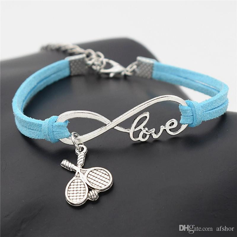 AFSHOR 2018 New Casual Punk Antique Silver Double Cross Tennis Racket Ball Charm Infinity Love Leather Bracelet Gift for Tennis Sports Lover
