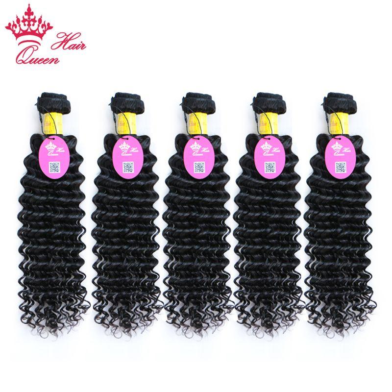 Королева продукты 100% человеческих волос пучки 5 шт. Натуральный цвет перуанский глубокой волны волос ткать 10-30 дюймов наращивание волос