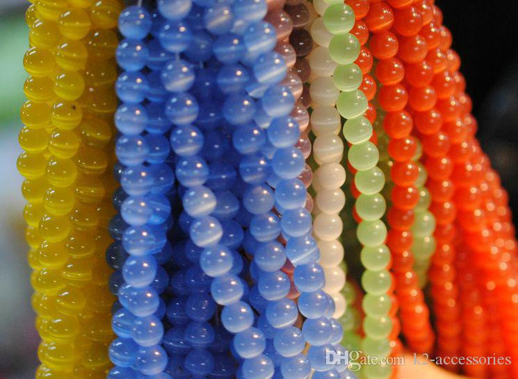 mix colors cat eye Beads gemstone Loose Beads Semi Precious Stone For bracelet necklace DIY JEWELRY MAKING