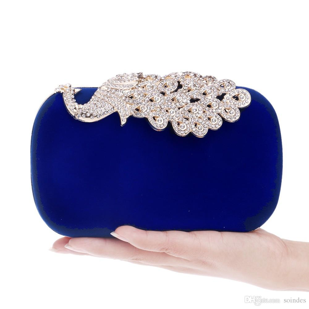 Luxurious Candy Color Velvet Women Evening Bags Rhinestones Peacock Metal Evening Bags Day Clutches Purse For Wedding/Party Bag