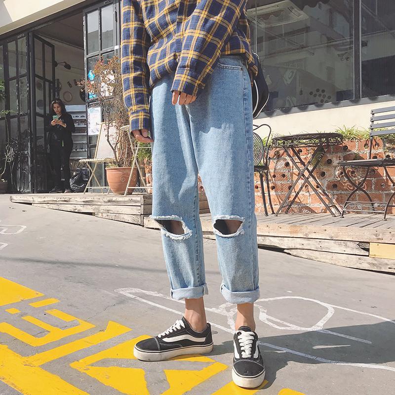 Acheter 2018 Printemps Homme Trous Baggy Classique Hommes Bleu Jeans Marque  Hip Hop Style Casual Pantalon Biker Denim Solide Couleur Pantalon S XL De