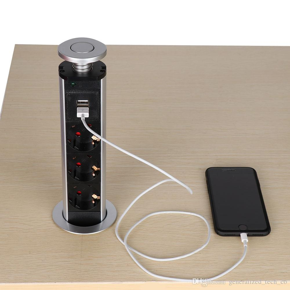 El/éctrico Enchufe de Toma de Corriente para Encimera Escritorio Z/ócalo Emergente 3 Tomas con 2 USB
