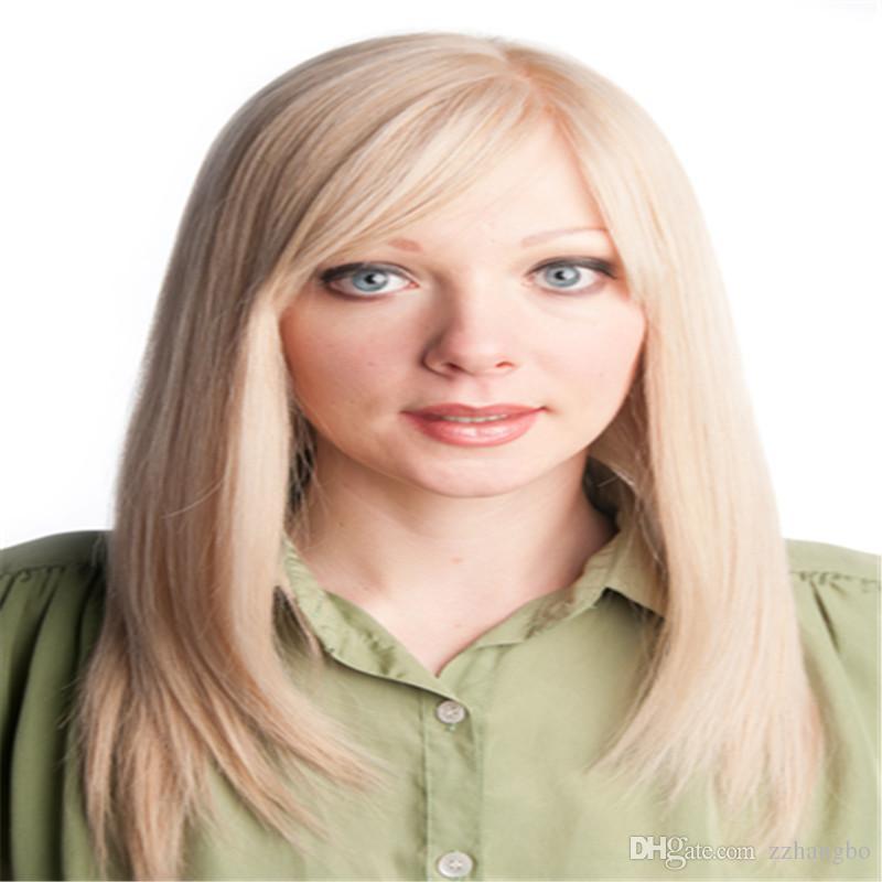 전체 레이스가 발 고급스러운 실크 자료에 대 한 흰색 여성 스트레이트 브라질 레미 우크라이나어 인간의 머리카락 blond # 613 투명 레이스와가 스 카 벨