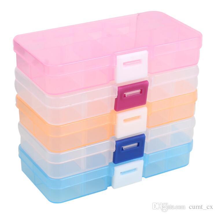 Caja de herramientas de plástico Caja de 10 celdas Anillos de joyería Artesanía Organizador Bolas de almacenamiento cosas diminutas Contenedores Contenedores Caja de maquillaje