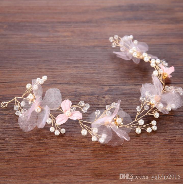 Fine pink hair ribbon around gold thread, European and American Wind accessories, bridal headwear wedding dress accessories.