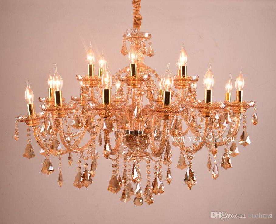 Chandelier 18 light crystal living room stairs chandelier light crystal modern minimalist Villa Hotel chandelier crystal lamp