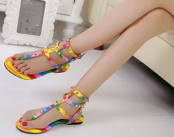 Rainbow Color Gladiator Sandals Women