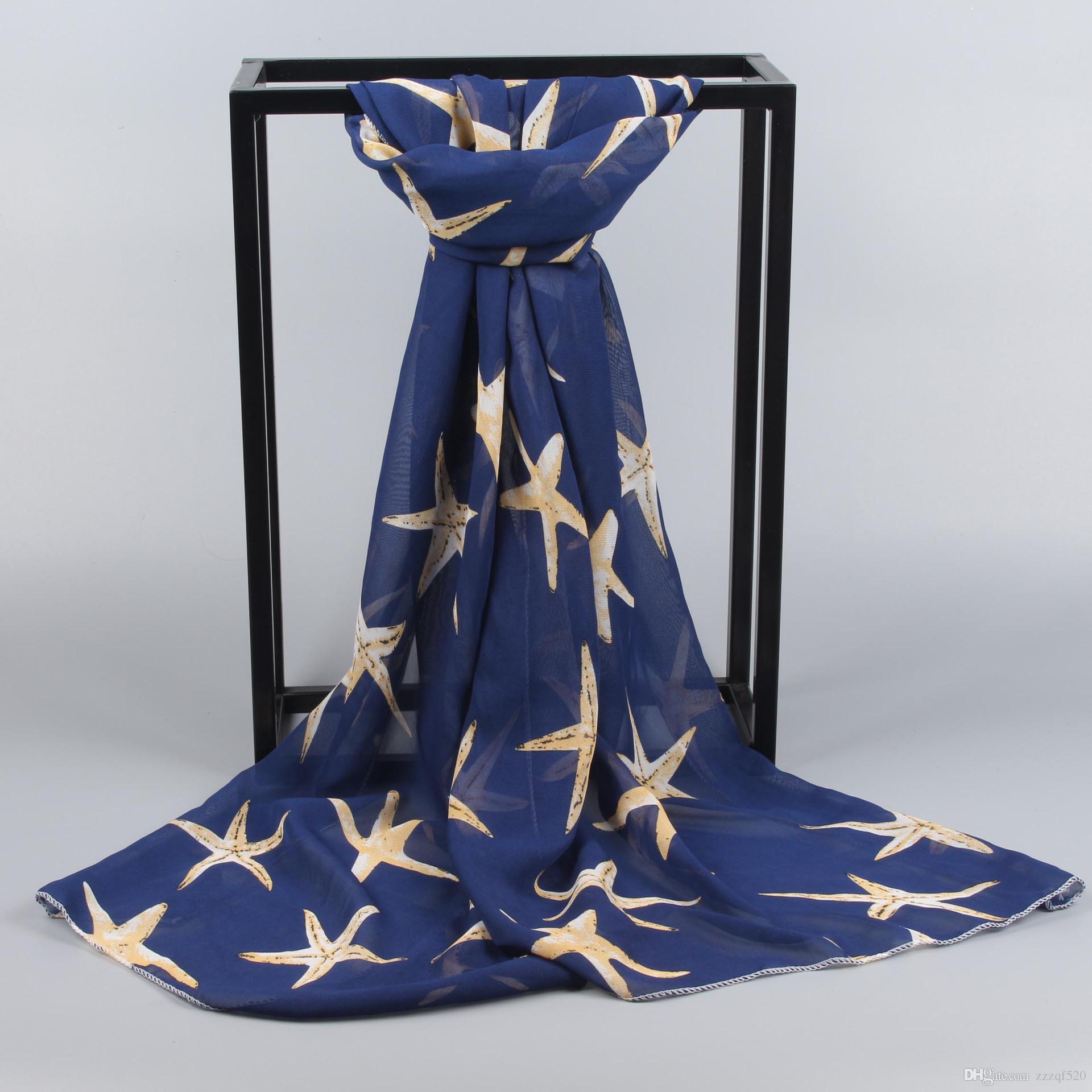 10pcs étoiles de mer étoile imprime plage foulard châle mode foulards châles pour femmes dames filles en été printemps