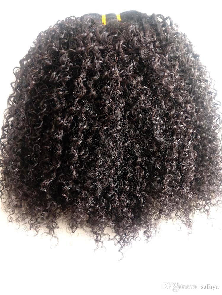 최고 품질의 브라질 킨키 곱슬 인간의 버진 레미 헤어 번들 위크 머리카락 확장 자연 검은 색 1B # 색상