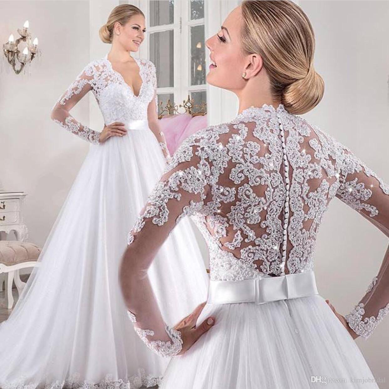 Großhandel 12 Langärmelige Spitze Brautkleider Eine Linie Perlen Weiß  Elegant Brautkleid Brautkleid Vestido De Noiva Von Kimjobridal, 12,12 €  Auf