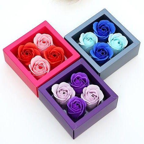 بتلات الأزياء محاكاة مع مربع PVC مربع صابون الزهور المحمولة روز الصابون زهرة لعيد الحب هدايا 5 5ms ب