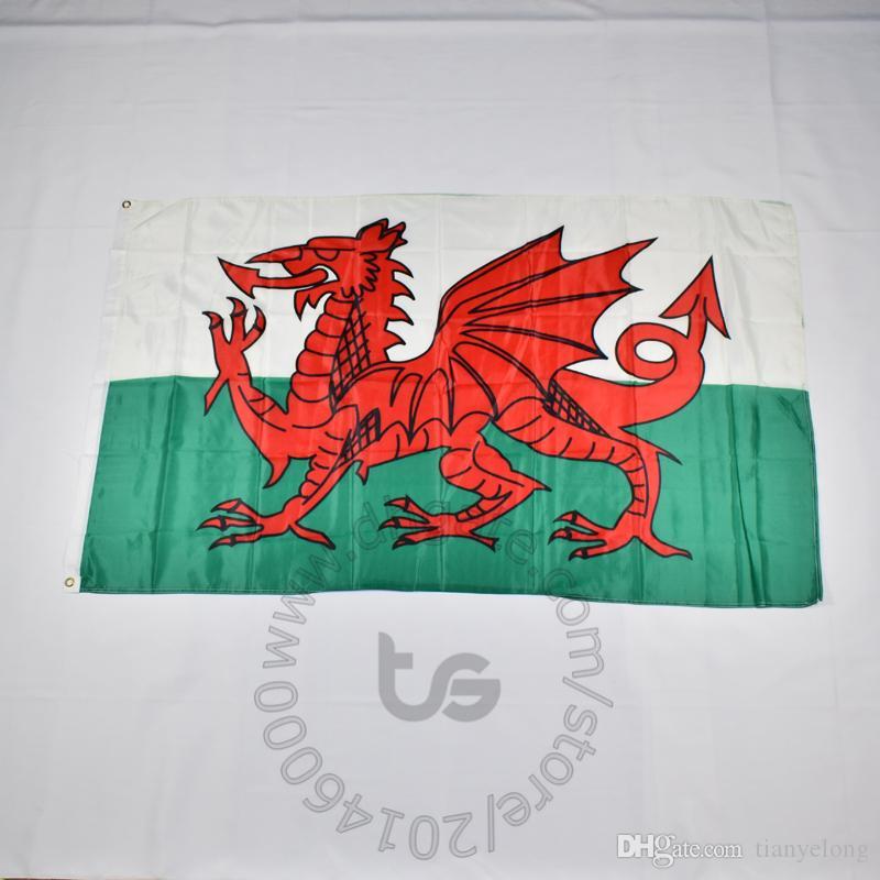 Уэльс флаг национальный флаг Бесплатная доставка 3x5 FT / 90 * 150см висячие Национальный флаг Домашнее украшение Wales нации