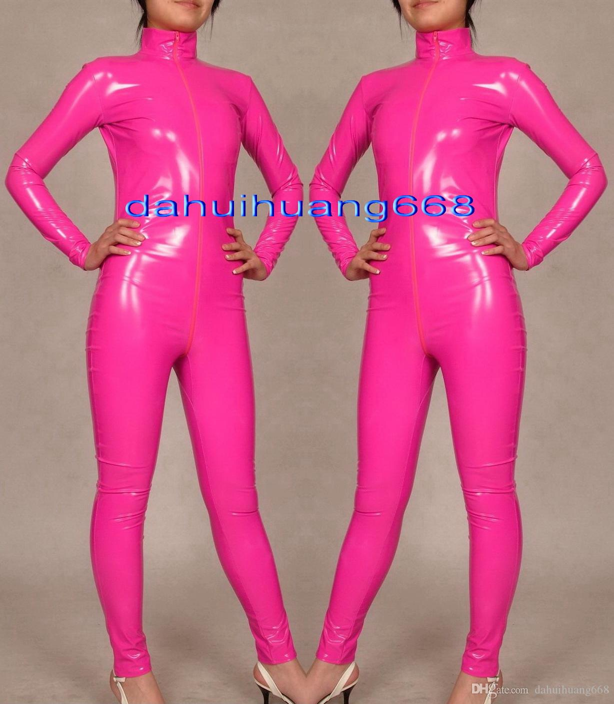 Sexy Pink Shiny PVC Suit Catsuit Costumes Unisex Shiny Pink PVC Body Suit Unisex Sexy PVC Bodysuit leotard Costumes With Long Zipper DH180