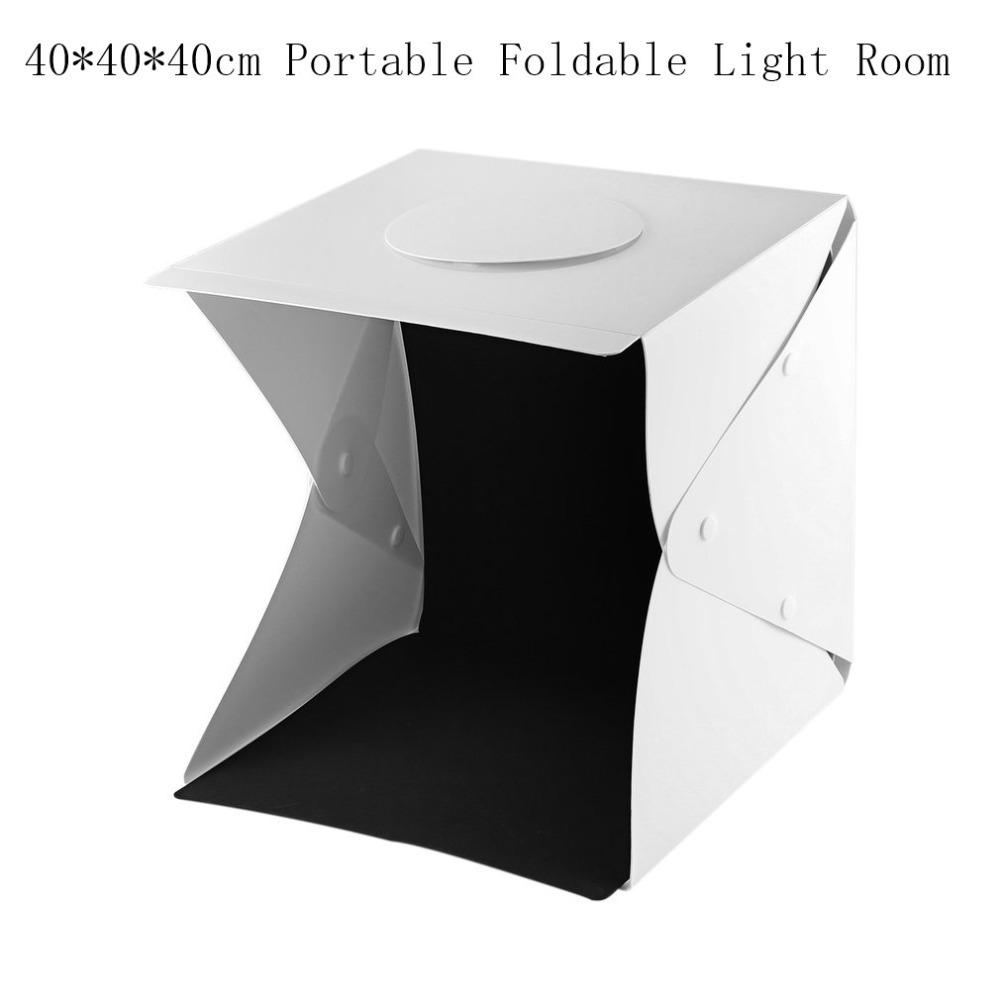 40cmPortable Luz Plegable LED LED Photo Studio Fotografía Luz Carpa Kit Foto Cámara Telón de fondo Mini Cube Box Light Photo Box