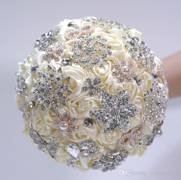 2018 nuevos suministros de boda, simulación, rosa satinada, novia de flores, ramo de mano