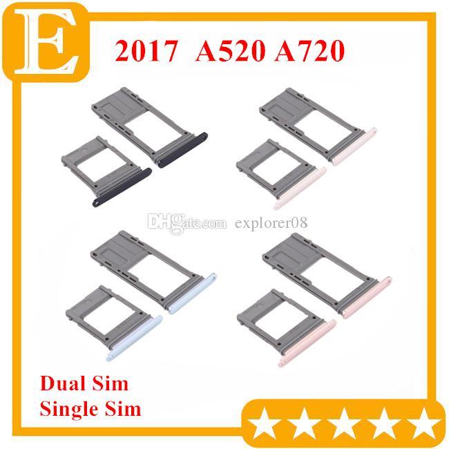 100% neue Double Single Sim Micro SD Speicherkarte Tray Halter Slot Ersatz Für Samsung Galaxy A5 A7 2017 VS A520 A720 10 STÜCKE